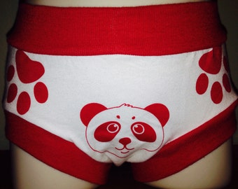 Red soft panda toddler unisex training paints with paws show where to hold, face and tail show back and front. Free shipping within the USA