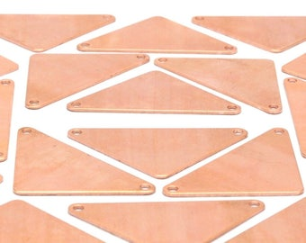 Copper Triangle Blank, 4 Raw Copper Triangle Blanks With 2 Holes (40x29x29x0.80mm) D485