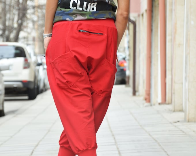 Red Pants, Loose Pants, Cotton Pants, Trousers, Casual Drop Crotch Pants, Harem Pants, Extravagant Low Bottom Pants by SSDfashion