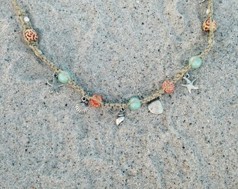 Seashell/Starfish Hemp Anklet