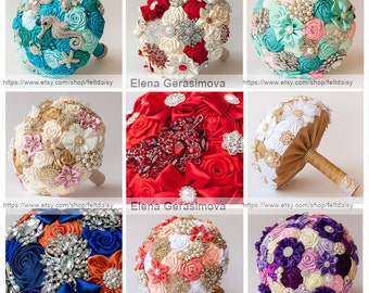 Brooch bouquet tutorial, fabric flowers by Elena Gerasimova, PDF, 6 flowers, bouquet how to, bridal, bridesmaid, diy