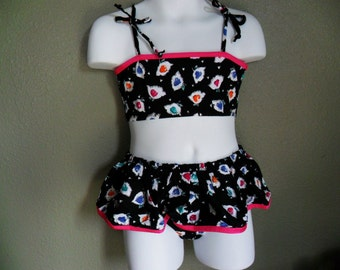 Clearance--two piece girl's swimsuit--Size:4T 5,6 The size runs small,please order at least 2 size up!!!