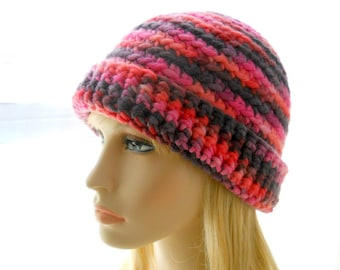 Purple and Pink Hat, Women's Crochet Hat, Wool Beanie Hat in Hand - Dyed Chilean Yarn, Large Size