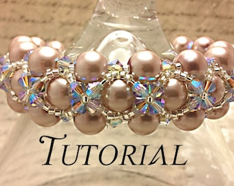 Tutorial PDF Right Angle Weave Swarovski Pearl and Crystal Floral Bracelet, Instant Download