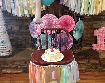 First Birthday Girls High Chair Banner. Girls Birthday Party Supplies. Pastel High Chair Banner w/Burlap Flag. Rainbow or YOUR CUSTOM colors