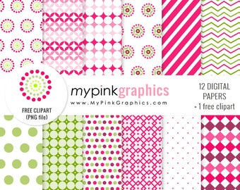 Crazy Pink Digital Paper + Clipart — Stripes, Hot Pink, Green, Background for Scrapbook, Web Design. Commercial Use. JPEG + PNG - MPG86