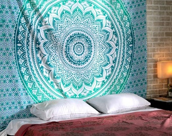 Blue Green Ombre  Indian Handmade Mandala Tapestry Queen Size Wall Hanging Multi Purpose