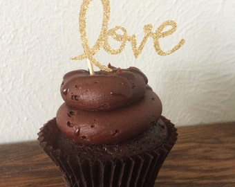 Wedding Glitter Cupcake Toppers - Love