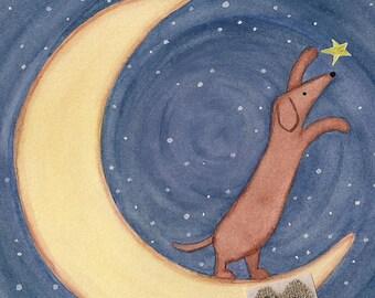 Brown dachshund (doxie) on the moon reaches for a star / Lynch signed folk art print