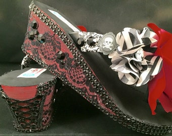 Gothic Red Black Wedge Flip Flops, Gothic Bridal Wedge Flip Flops, Custom Wedding Flip Flops, Bridal Platform Sandals Dancing Wedding Shoes