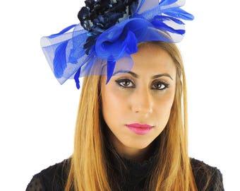 Royalblau/Navy Fascinator Hut für Hochzeiten, Kentucky Derby mit Stirnband ** SAMPLE SALE