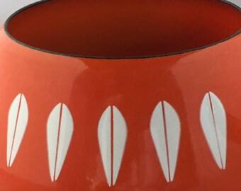 CATHERINEHOLM Vintage Mid Century NEW Fondue Pot Lotus Enamelware ORANGE