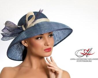 Blue Jeans Wide Brim Summer Hat. Kentucky Derby Hat. Church Hat, Wedding Hat, Women's summer hat, Formal Hat, Dressy Hat Elegant Hat