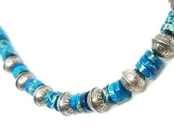 Sterling Silver, Blue Jasper, Beaded Necklace, Silver Jewelry, Healing Gemstones, Bohemian Southwestern, Gifts for Her, Funkie, Nepantlaz