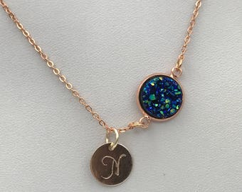 Gift for her, rose gold Druzy initial Necklace, initial rose gold necklace, rose gold druzy, Druzy Necklace, Boho Jewelry, custom jewelry,