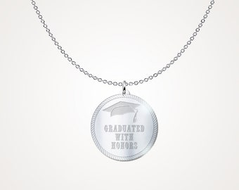 """Graduation Jewelry - Graduation Gift """"Graduated with Honors"""" .925 Sterling Silver Necklace"""
