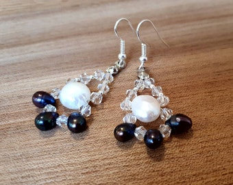 Pearl earrings with Swarovski crystals and peacock drop pearls