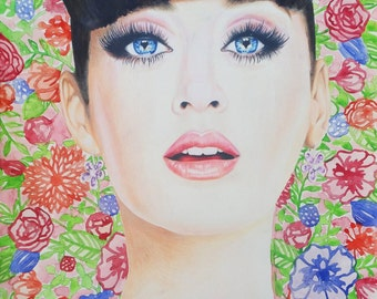 Katy Perry 8x10 Print, Colored Pencil Drawing, Celebrity Art