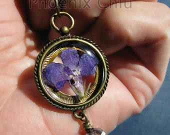 Blue Pressed Flower Necklace Lobelia Jewelry Vintage Victorian Statement Eco Resin Pendant terrarium jewelry real pink flower necklace