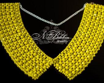 Beadwork yellow neon collar. Beading yellow glass rondels. Women's Accessories. Beaded collar