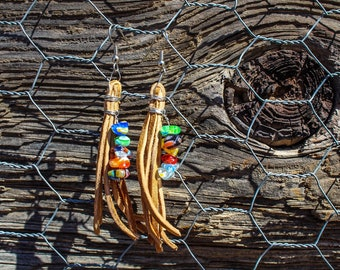 Leather Tassel Earrings with Stained Glass Beads