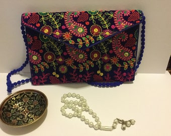 Hand embroidered velvet purse/multi color hand bag/multi color embroidered purse/mirror work purse