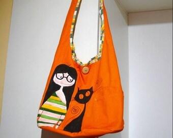 Painted handmade, fabric cat girl shoulder bag, hippie spring