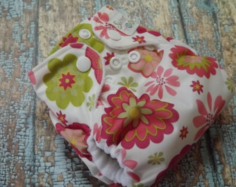Newborn AI2 Cloth Diaper Organic Cotton Dahlias Made to Order All in Two PUL
