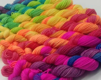 75/25 Superwash Merino / Nylon sock yarn: Spectral Dispersion Mini Skeins