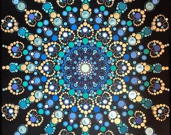 """Mandala, Acrylic Painting, """"Emerald Necklace"""""""
