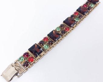 50s Brown Rhinestone Bracelet | Autumn Colors Bracelet |