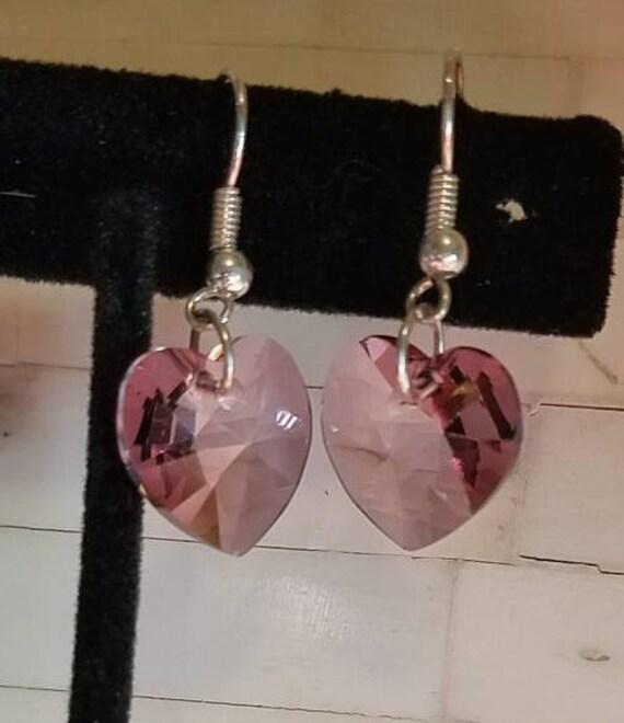 Swarovski Antique Pink Heart Earrings, Crystal Heart Earrings, Heart Earrings