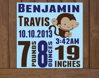 Custom Baby Birth Stats- Birth Announcement on Canvas; Newborn Baby Canvas with Baby Monkey; Birth Stats Decor