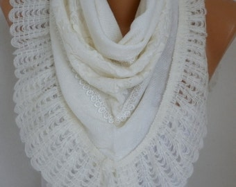 White Knitted Scarf, Wedding Shawl Cowl Lace Oversize Bridesmaid Gift,Bridal Scarf,Gift For Her Women Fashion Accessories Mother's day Gift