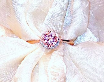Morganite Halo Ring or Engagement Ring, Handmade Jewelry By NorthCoastCottage Jewelry Design & Vintage Treasures