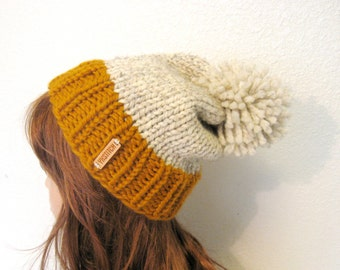 Knit Hat Women / Slouchy Knit Hat with Pom Pom / VAIL / Butterscotch and Wheat