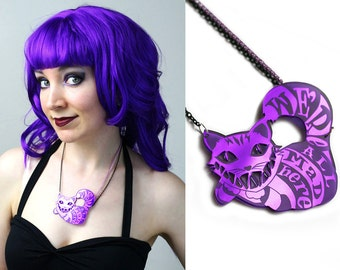 Cheshire Cat - We're All Mad Here purple acrylic necklace - smarmyclothes Alice in Wonderland