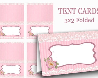 PINK Tent Cards, Digital Food Label,  Pink Name Tags, Valentine Tea Party place card, party supplies, Mothers Day, Bridal shower, rose, lace