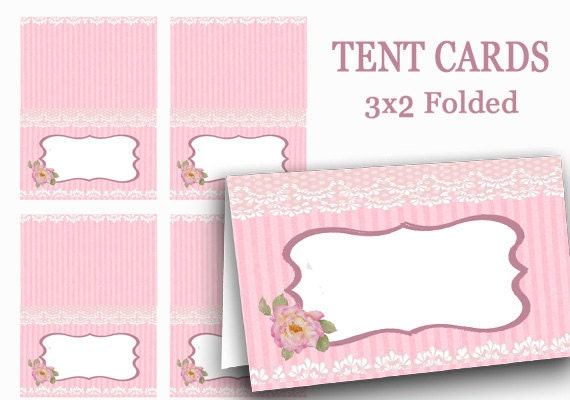 ?zoom  sc 1 st  Etsy & PINK Tent Cards Digital Food Label Pink Name Tags