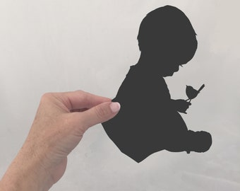 Custom Full figurative family portrait silhouettes for home decor wall art and nursery or wedding couple idea