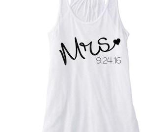 Mrs Est / Honeymoon Tank / Wife Tank Top / Bride Tank Top / Wedding Tank Top / Mrs Tank Top / Mrs Shirt / Last Name Shirt / Future Mrs