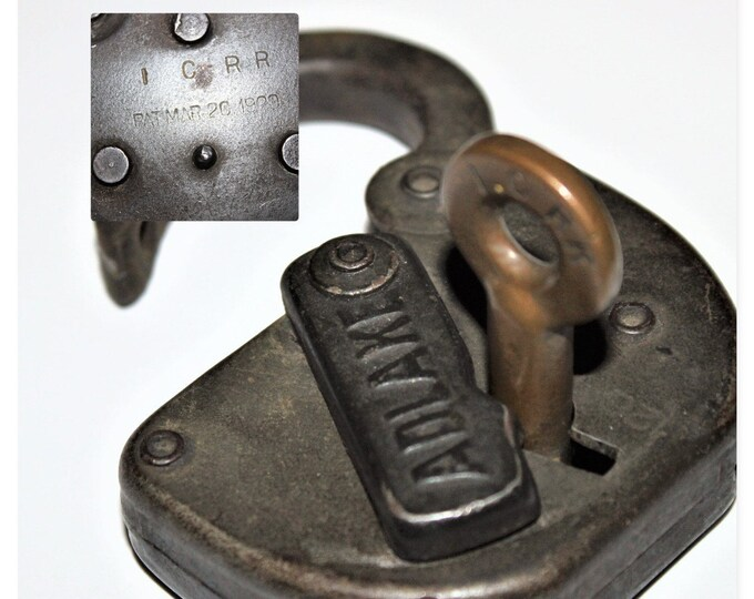 Antique 1926 Adlake Padlock ICRR and Key