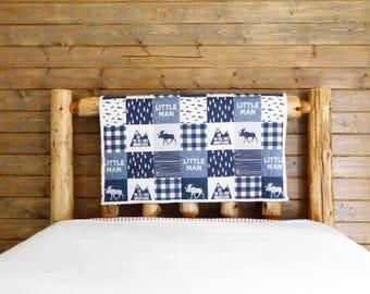 Little Man Crib Quilt, Little Man Baby Quilt, Baby Boy Quilt, Nursery Blanket, Blue Baby Quilt, Toddler Quilt,