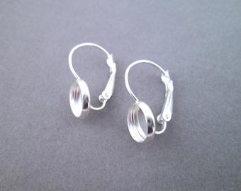 8mm silver plated bezel leverback earrings, C129