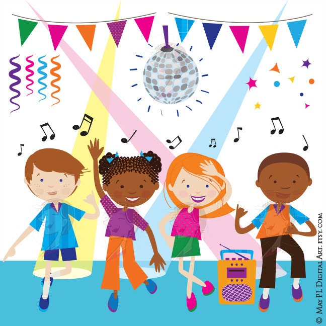 dance clipart disco kids party children boy girl dancing cute rh etsy com Dancing Group Clip Art Dancing Girl Clip Art