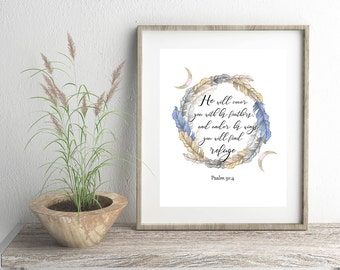 Scripture digital download for Print 8 x 10,  Psalm 91:4, He will cover you with his feathers. Bible Verse, Wall Art, Christian