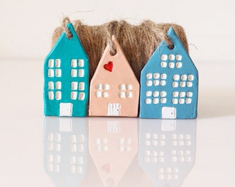 Miniature houses decoration -Set of 3 clay Christmas decoration -Valentines gift -Pastel Dutch houses -Clay houses -Amsterdam buildings