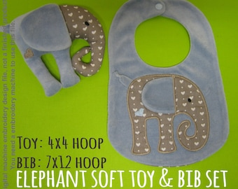 ELEPHANT soft toy & bib SET - 4x4, 7x12 hoop - ITH - In The Hoop - Machine Embroidery Design File, digital download