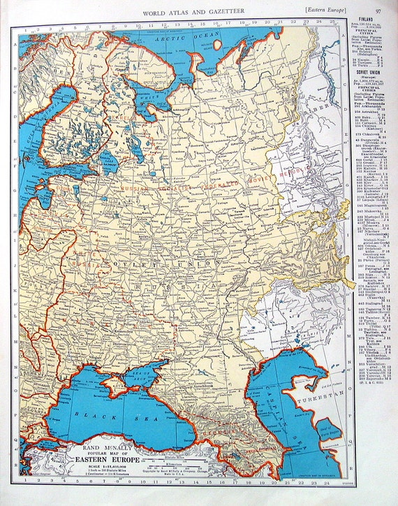 Eastern europe asia map 1942 vintage book page old map like this item gumiabroncs Images