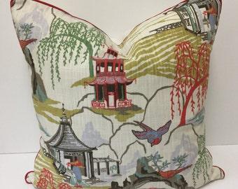 Robert Allen Neo Toile Asian Pagoda Designer Pillow in Coral